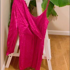 One Shoulder Pink Leopard Dress